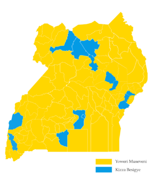Ugandan general election, 2016 - Image: Uganda 2016 Election Results Map