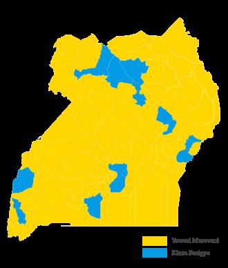 Ugandan general election, 2016 - Image: Uganda 2016 Election Results Map