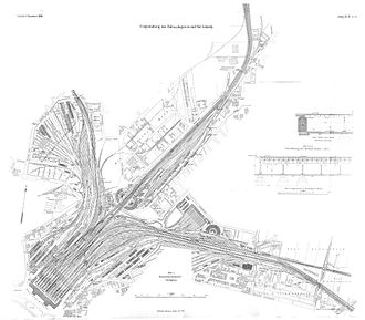 """Leipzig Hauptbahnhof - Track plan of 1909, the world's largest railway station by number of tracks, 26. In 1909 Leipzig was located in the German Empire's centre, """"between Memel and Metz"""""""