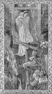Stylised black and white engraving in the style of Edward Burne-Jones. A woman in heroic pose in a flowing white dress stands in a window holding a child, while a fireman stands on a ladder, roughly level to the window, and reaches out to take the child. A Royal Navy sailor in full uniform, further down the ladder, holds another child.