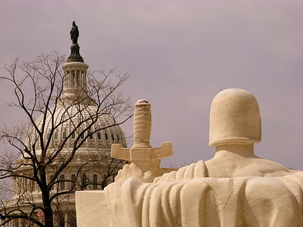 View of the United States Capitol from the United States Supreme Court building. United States Capitol seen from the United States Supreme Court, Washington, DC - 20080326.jpg