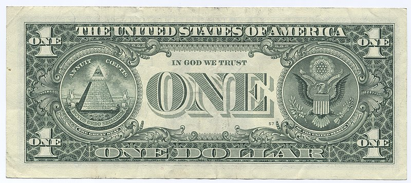 File:United States one dollar bill, reverse.jpg