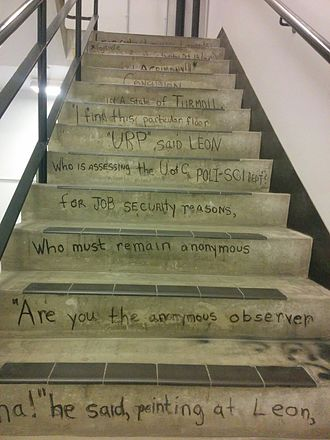 University of Calgary Faculty of Arts - Leon the Frog, written in the early 1970s, has constantly been revitalised by consecutive generations of students due to stairwell renovations and usage wearing down the original words.