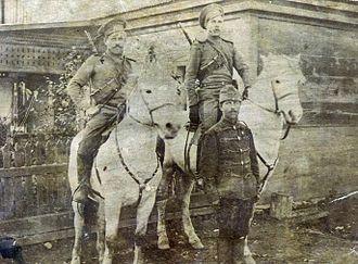 Ussuri Cossacks - Ussuri Cossacks with a captive Austro-Hungarian soldier.