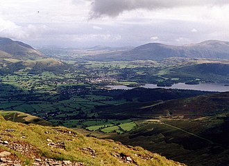 Grisedale Pike - The view east from the summit takes in the Vale of Keswick and the head of Derwentwater.