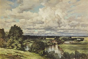 Keeley Halswelle - Valley of the Thames, 1882 landscape by Keeley Halswelle