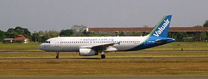 Valuair - Valuair Airbus A320 at Juanda International Airport, Surabaya
