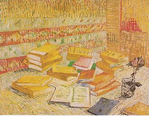 Still Life with French novels and glass with a rose