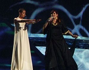 "Vânia Fernandes - Vânia Fernandes singing ""Senhora do Mar"", in ESC 2008, dressed in black"