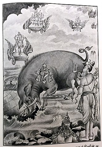 Hiranyaksha - Image: Varaha Avatar's (incarnation's) purpose is to recover the Vedas from the bottom of the ocean