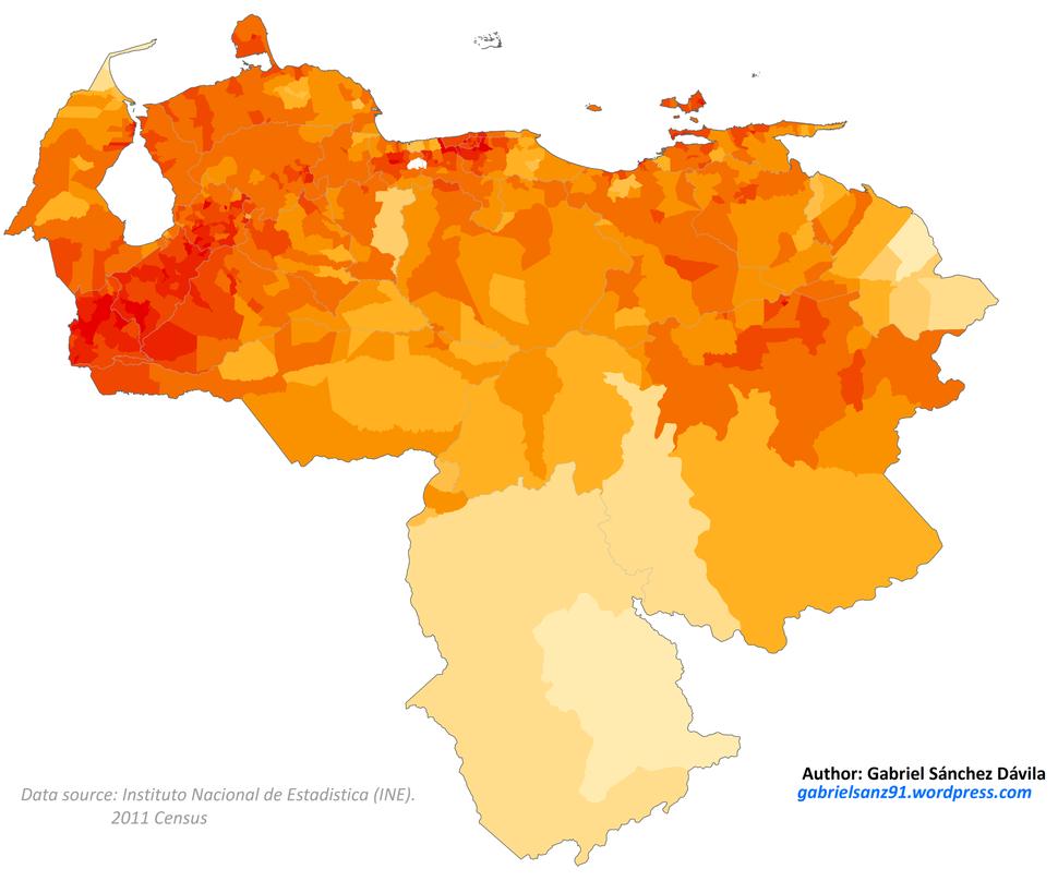 Venezuela 2011 White population proportion map