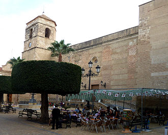 Vera, Spain - Fortified  church of the Encarnación, as seen across  the Central Square