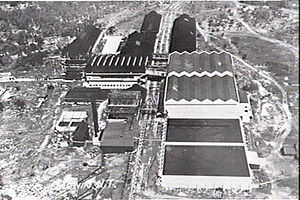 Darwin rebellion - Aerial view of Vestey's Meatworks in the 1930s.