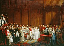 A painting of a lavish wedding attended by richly dressed people in a magnificent room