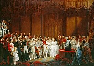 Maleri af et overdådigt bryllup, der overværes af rigt klædte mennesker i et storslået rum
