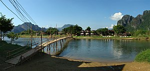 Nam Song River - Bridge over the Nam Song River in Vang Vieng
