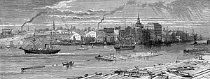 History of Savannah, Georgia - View of Savannah from the River, 1872, wood engraving by Harry Fenn