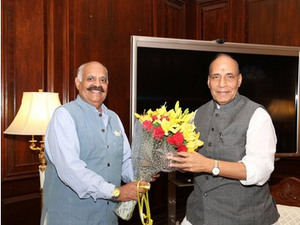 V.P. Singh Badnore - V P Singh Badnore meeting Home Minister Rajnath Singh after being appointed Punjab Governor