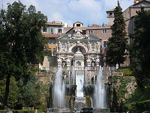 The Neptune Fountain (foreground) and Water Organ (background) in the gardens at the Villa d'Este.