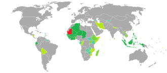 Visa requirements for Mauritanian citizens - Image: Visa requirements for Mauritanian citizens