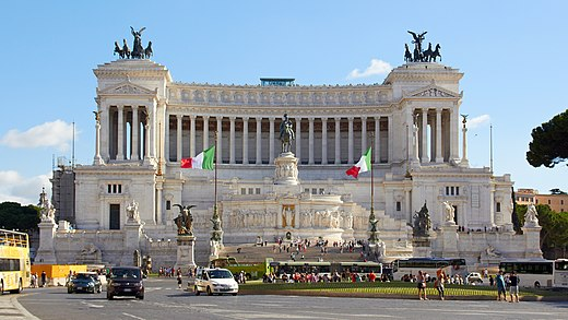 The Victor Emmanuel II Monument in Rome, a national symbol of Italy celebrating the first king of the unified country, and resting place of the Unknown Soldier since the end of World War I Vittoriano Altare della Patria 2013-09-16.jpg