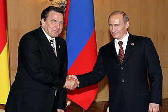 History of Germany since 1990 - Schröder with Russian president Vladimir Putin in Moscow on 9 May 2005