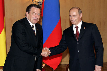 Schroder with President of Russia Vladimir Putin in Moscow on 9 May 2005 Vladimir Putin with Gerhard Schroeder-1.jpg