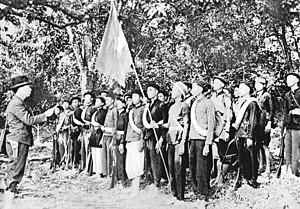 French Indochina in World War II - Võ Nguyên Giáp (left) together with Viet Minh forces in the jungle near Kao Bak Lang in 1944.