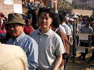 Nepalese Constituent Assembly election, 2008 - Voters lining up at the polling station