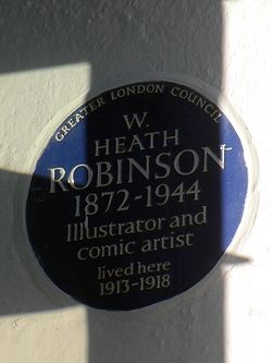 W. heath robinson 1872 1944 illustrator and comic artist lived here 1913 1918