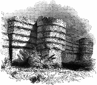 Anna of East Anglia - The ruins of Burgh Castle, the possible site of the monastery at Cnobheresburg, as depicted in 1845