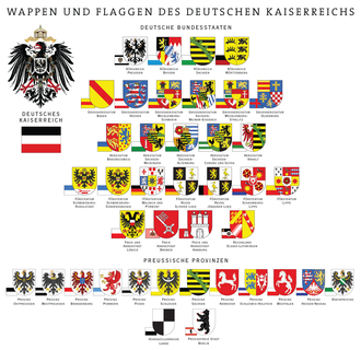 States of the German Empire - The flags and coat of arms of all states, the Imperial Territory of Alsace-Lorraine, and the Prussian Provinces.