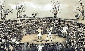 "Jem Ward - Painting by Jem Ward of the fight for the ""Championship of England and America"" between Thomas Sayers and John C. Heenan in 1860."