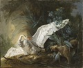 Water Spaniel Surprising a Swan on its Nest (Jean-Baptiste Oudry) - Nationalmuseum - 117886.tif