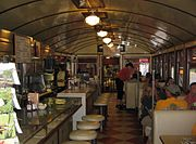 Interior of the 1938 sterling manufactured diner in Wellsboro, Pennsylvania - note curved ceiling