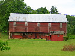 An old red barn in White Deer Township