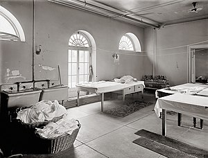 Laundry room of the White House in Washington,...