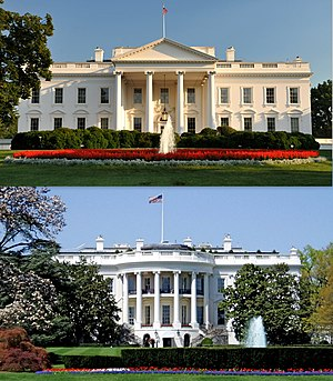 White House - Top: the northern facade with a columned portico facing Lafayette Square  Bottom: the southern facade with a semi-circular portico facing The Ellipse