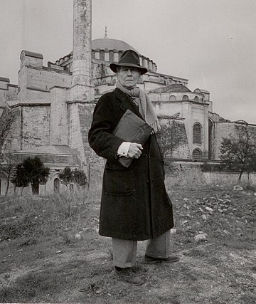 Thomas Whittemore in front of Hagia Sophia in 1930s. Whittemore-major posing in front of the Hagia Sophia.jpg