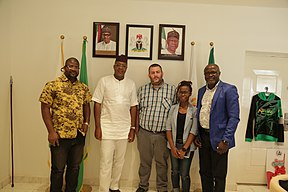 Wikimedia Foundation team and Nigerian Tourism Development Corporation (NTDC) Director General in a group photograph after a partnership meeting.jpg
