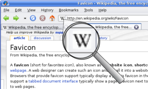 Favicon - Wikipedia's favicon, shown in an older version of Firefox (from 2008)