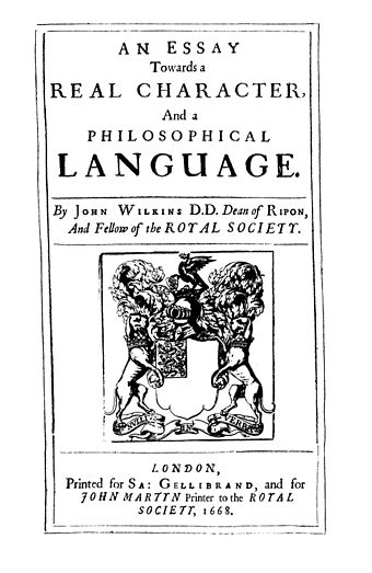 "Frontispiece of John Wilkins ""An Essay towards a Real Character and a Philosophical Language"" (1668) Wilkins An Essay towards a real.jpg"