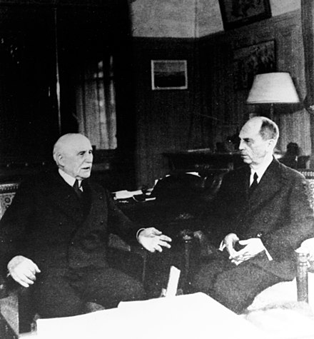 Petain and his final meeting with the departing American ambassador William D. Leahy, 1942 William D. Leahy and Philippe Petain, 1942, NH 89478 (25159321993).jpg