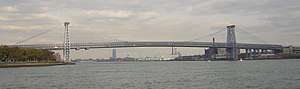 Williamsburg Bridge - Full span, as seen from Wallabout Bay with Greenpoint and Long Island City in background