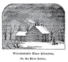 a drawing of the outside of a multi-room log cabin during winter