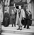 Winston Churchill receives an honorary degree from Harvard University in Massachusetts, USA, 6 October 1943. H32723.jpg
