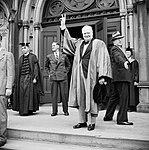 Winston Churchill receives an honorary degree from Harvard University in Massachusetts, USA, 6 October 1943. H32723.jpg