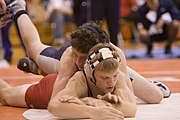 In scholastic wrestling, great emphasis is placed on one wrestler's control of the opponent on the mat.