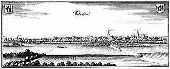 """Bild """"http://upload.wikimedia.org/wikipedia/commons/thumb/1/1d/Wunsdorf-1654-Merian.jpg/350px-Wunsdorf-1654-Merian.jpg"""""""