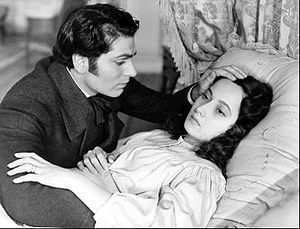 Wuthering Heights (1939 film) - Heathcliff (Laurence Olivier) at the deathbed of Cathy (Merle Oberon) in Wuthering Heights